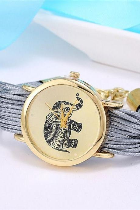 Dress bracelet elephant logo fashion gray watch