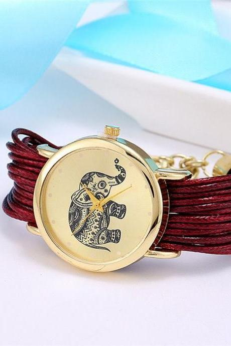 Dress bracelet elephant logo fashion dark red watch