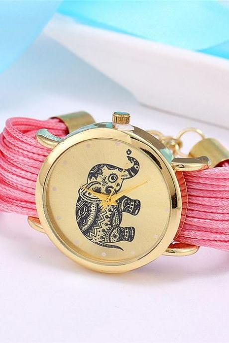 Dress bracelet elephant logo fashion pink watch
