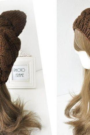 Cat woman ears warm winter brown fashion girl woman hat