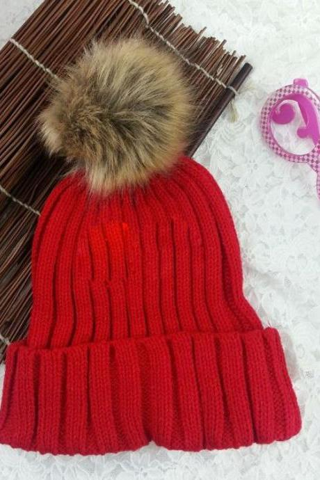 Winter warm snow fun knitted cotton pompon red woman girl hat