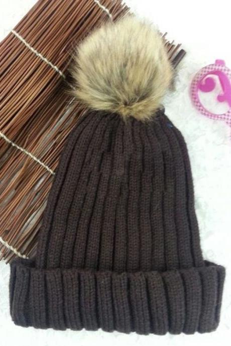 Winter warm snow fun knitted cotton brown woman pompon girl hat