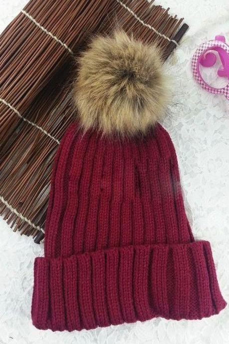 Winter Warm Snow Fun Knitted Cotton wine red Woman Pompon Girl Hat
