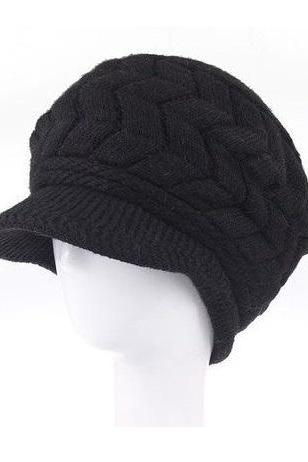 Winter Beanies Knitted fashion woman black woman hat