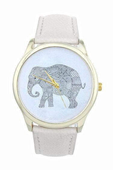 Dress elephant fashion wristwatch woman cool girl white band watch