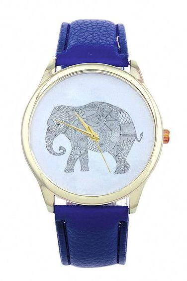 Dress Elephant Fashion Wristwatch Woman Cool Girl Blue Band Watch