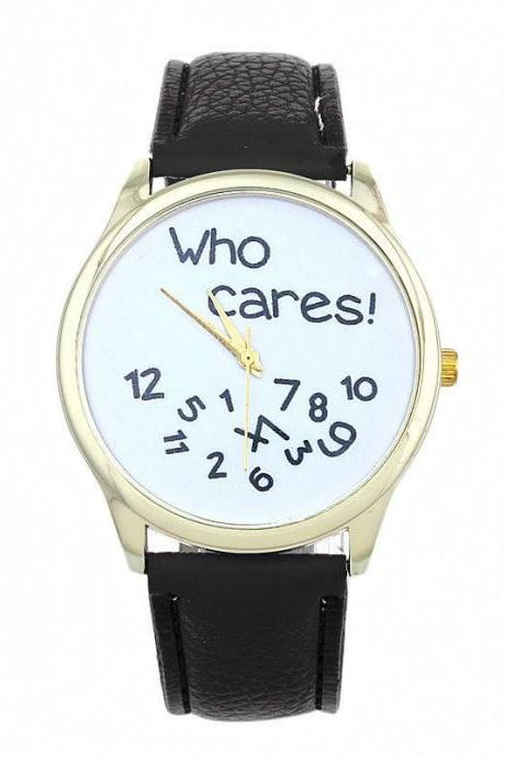 Who cares teen fashion casual wristwatch black woman girl watch