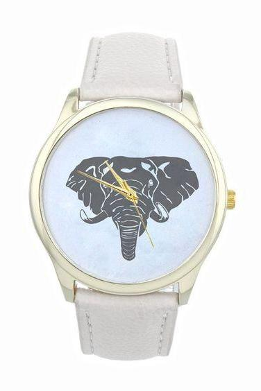 Elephant face teen good luck cool girl fashion unisex white band watch