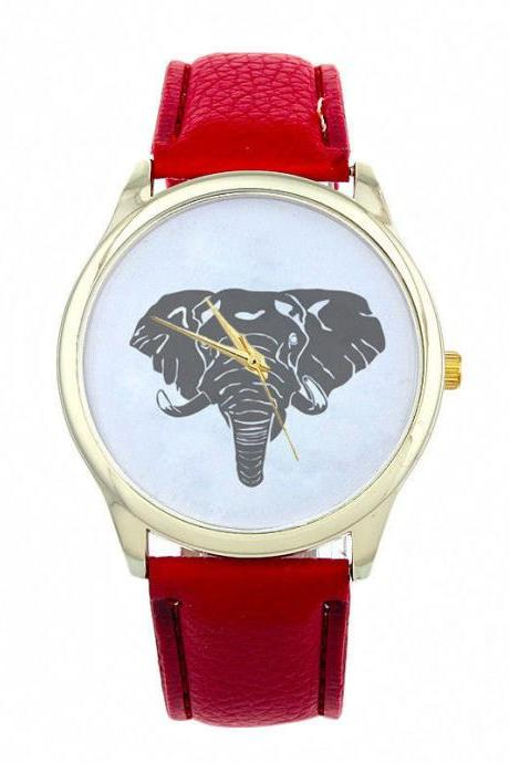 Elephant Face Teen Good Luck Cool Girl Fashion Unisex Red Band Watch