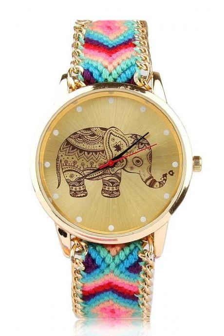 Colorful cloth and chain strap friendship watch