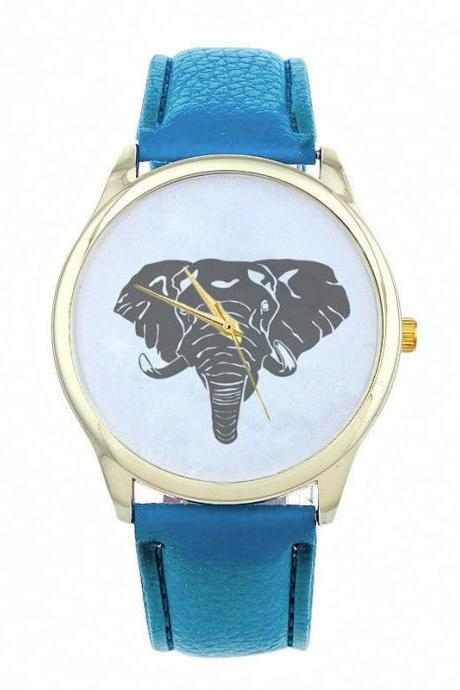 Elephant Face Teen Good Luck Cool Girl Fashion Unisex Blue Band Watch