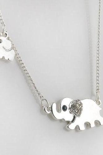Good luck double elephant pendant silver color necklace