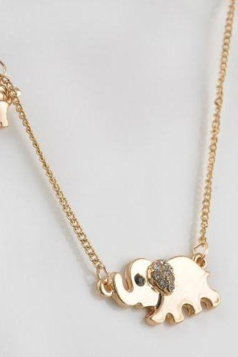 Good luck double elephant pendant gold color necklace