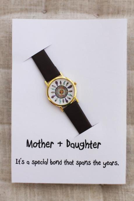 Indian Vintage Style Girl mother and daughter card note woman Watch