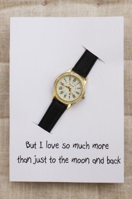 I Love You Much More Than To The Moon And Back Card Black Band Rhinestones Fashion Case Girl Watch