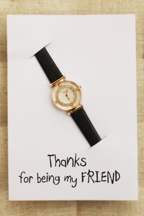 Wrsitwatch Pu Leather Black Cute Teen Band Woman Girl Thanks Being My Friend Card Watch