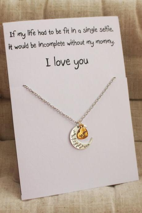 Mother and Daughter Gift Card Love You Mom Pendant Stone Necklace