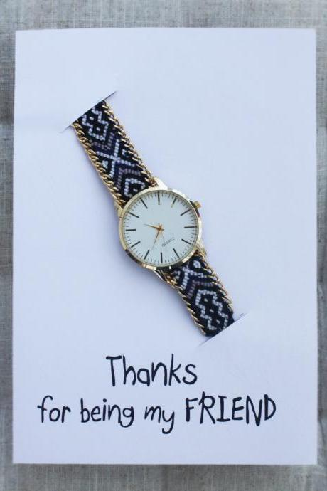 Colorful Band Friendship Wrist Gift hanks For Being My Friend Card Watch