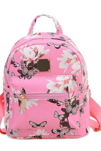 Floral Pu leather pink school girl fashion woman travel bag softback backpack