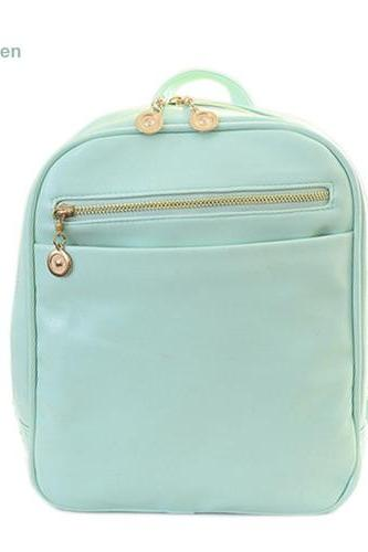 Fashion Elegant Fashion Girl School Travel Pu Leather Teenage Femina bag Mint Green Backpack