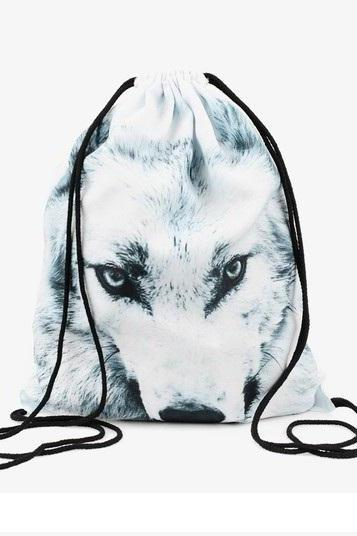 Travel School Girl Teenage Casual Wolf Design Drawstring Bag Blue- White Woman Softback Backpack