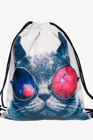 Back to School Girl Teenage Casual Cat with Sunglasses Design Drawstring Bag Woman Softback Backpack
