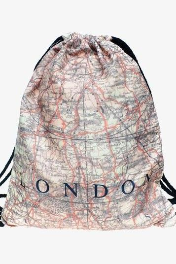 Back to School Girl London map Design Drawstring Bag Travel Woman Softback Backpack