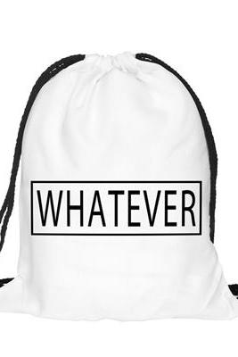 Back to School Whatever Cool Pattern Funny Design Drawstring Bag Woman Backpack