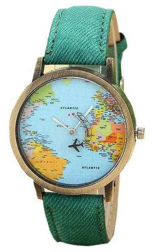 World map Plane Trip Pu leather green band woman watch