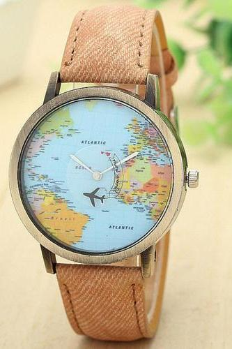 World map Plane Trip Pu leather brown band woman watch