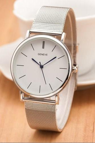 Silver Toned Alloy Strap Woman Dress Fashion Evening Watch