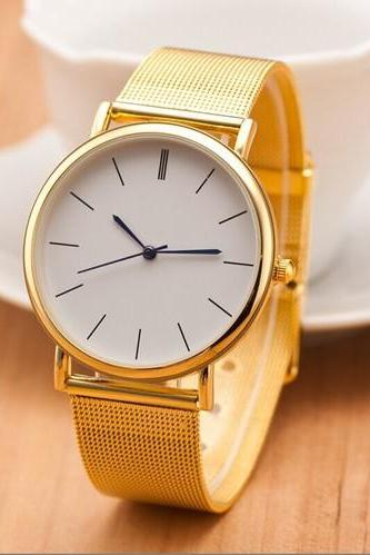 Gold Toned Alloy Strap Woman Dress Fashion Evening Watch