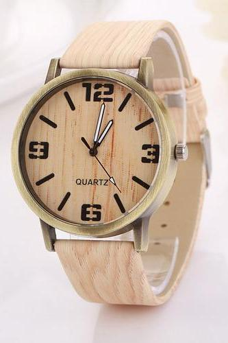 Wood grain texture light toned schoolgirl unisex fashion teen woman watch
