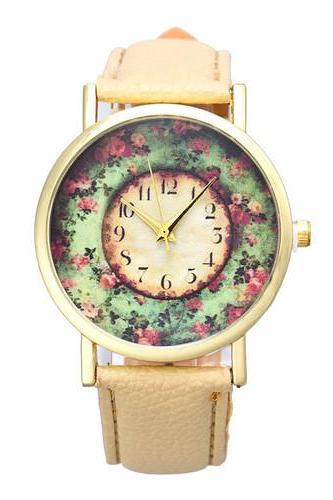 Flowers Fashion Dress Girl Pu Leather Band Beige Woman Gift Watch