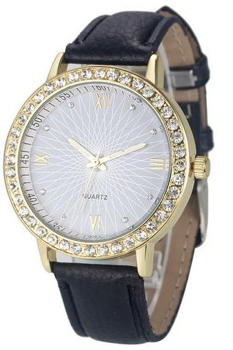 Elegant Rhinestone GOld Toned Case Dress Pu Leather Black Strap Woman Gift Teen Watch