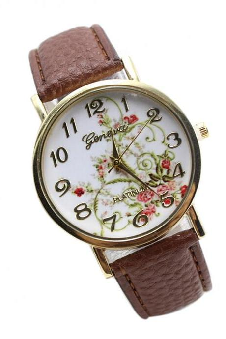 WristWatches Floral Fashion Case Quartz Women Casual Brown PU Leather Band Watch