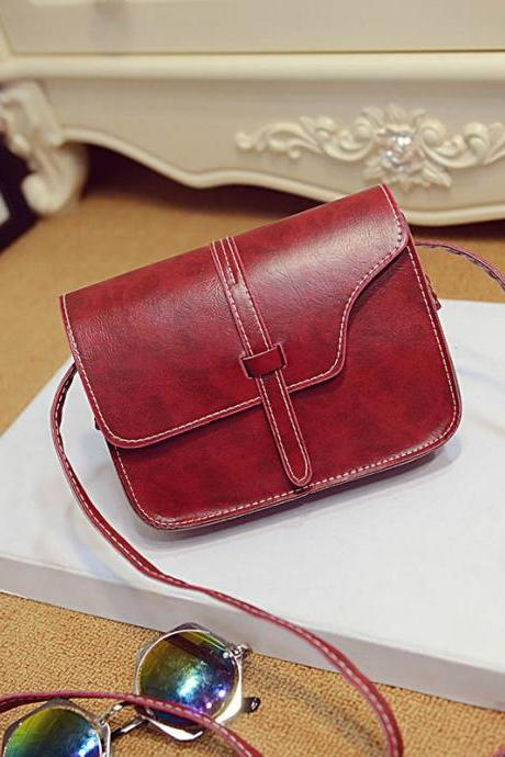 Messenger Shoulder Red Fashion Long Shoulder bag PU Leather Woman Handbag