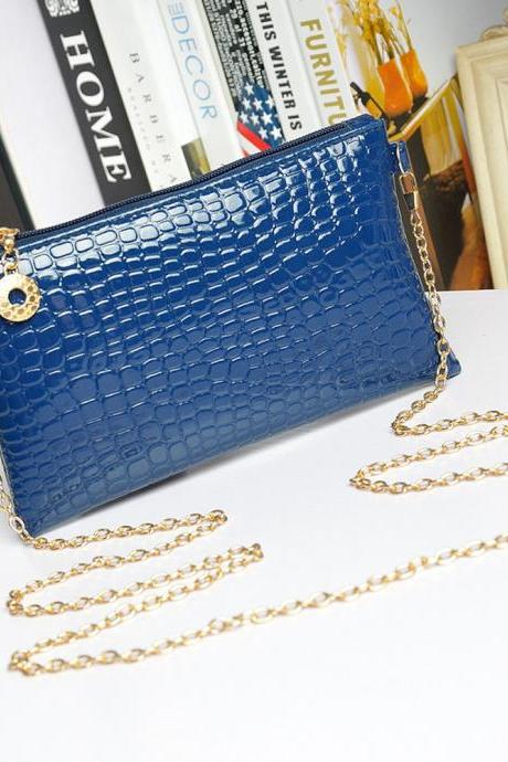 Messenger Shoulder Golden Chain Strap Fashion Crossbody Clutch PU Leather Blue Woman Bag Handbag