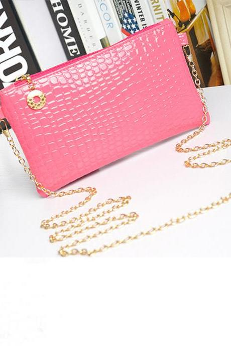 Messenger Shoulder Golden Chain Strap Fashion Crossbody Clutch PU Leather Pink Woman Bag Handbag