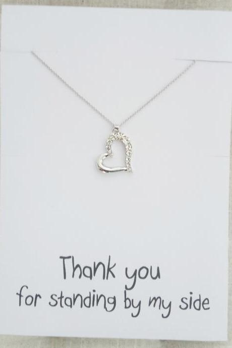 Silver Toned Heart Rhinestones Pendant Thank You Friends and Family Gift Card Girl Fashion Woman Necklace