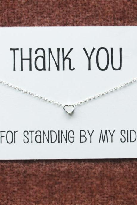 Thank you Gift Card Girl Teen Silver Toned White Heart Pendant Necklace
