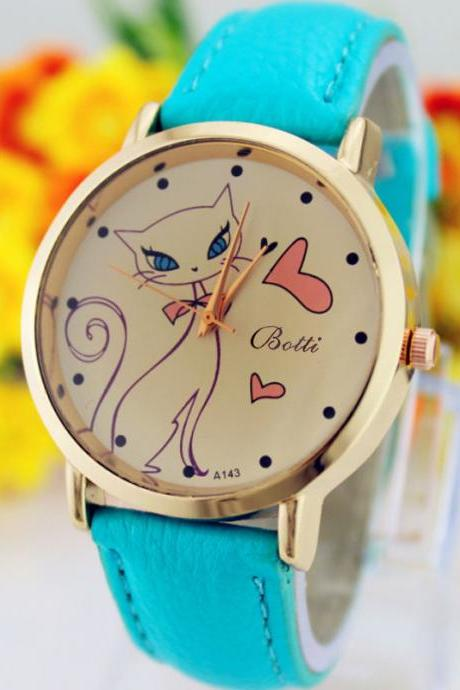 Cat Love Fashion Dress Lady Girl PU Leather Blue Band Woman Watch