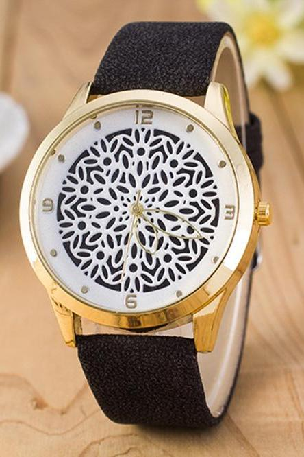 Floral Design Vintage Fashion Dress Lady Girl PU Leather Black Band Woman Watch