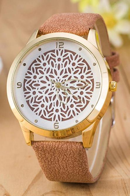 Floral Design Vintage Fashion Dress Lady Girl PU Leather Brown Band Woman Watch