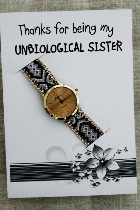 Black-White Band Hippie Wrist Watch Unisex Holidays Gift FashiponThanks For Being my Unbiological Sister Watch