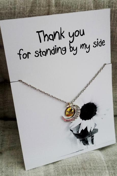 Thank You for Standing by My Side Love you Daughter Holiday Gift Woman Jewelry Pendant Necklace