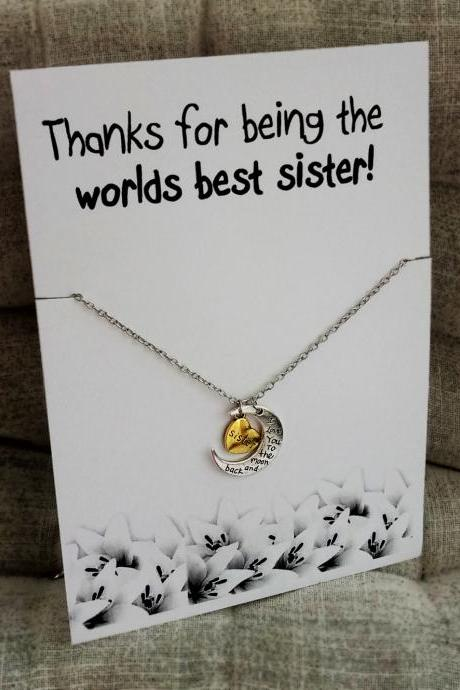 Thanks for Being the Worlds Best Sister Pendant love you Sis to moon and Back Cool Gift Necklace