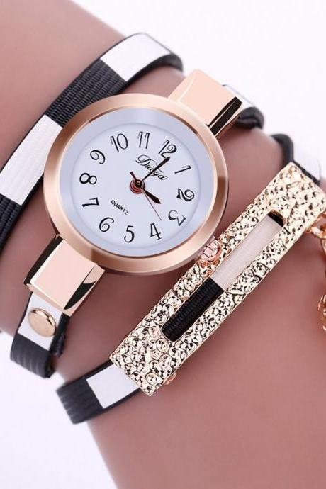 Wrap PU leather luxury dress woman black fashion gift watch