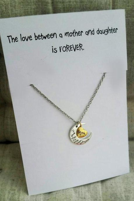 Love Between Mother and Daughter Vintage Jewelry Christmas Family Gift Woman Pendant Necklace