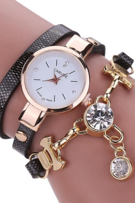 Wrap PU leather bracelet luxury dress woman black girl crystal pandant fashion gift watch